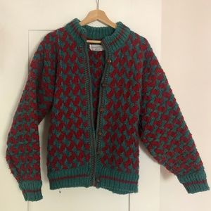 Red and Teal Woven Sweater - 100% Wool